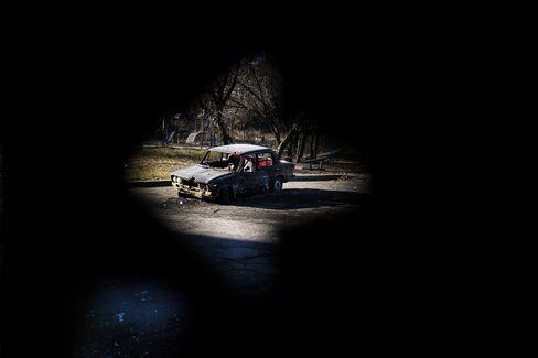 Destroyed Car in Donetsk