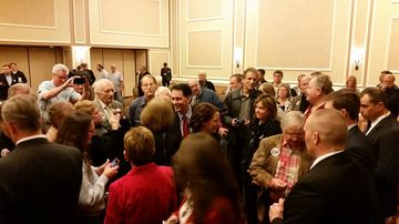Wisconsin Governor Scott Walker meets with Republicans in Dubuque, Iowa, on March 7, 2015.
