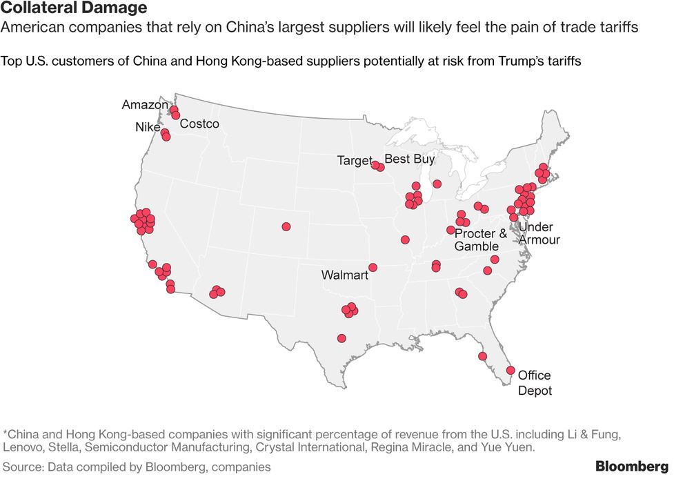 e7aff7ff5283 U.S. Shoppers and Chinese Suppliers Face Hit From Trump Levy - Bloomberg
