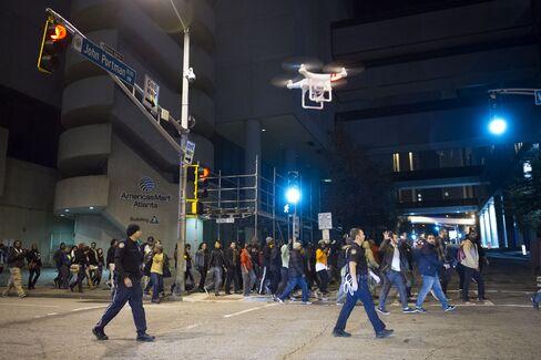 Drone Flies During Atlanta Protests