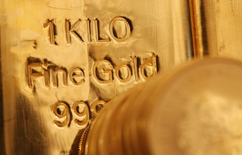 A Gold Bar Sits at a Dealers in London