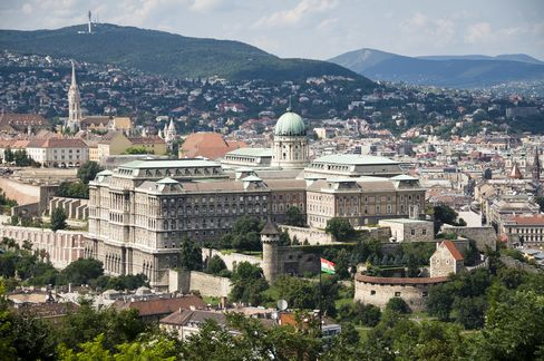 The view over Castle Hill in Budapest, with Buda Castle and the Castle District (Várnegyed).
