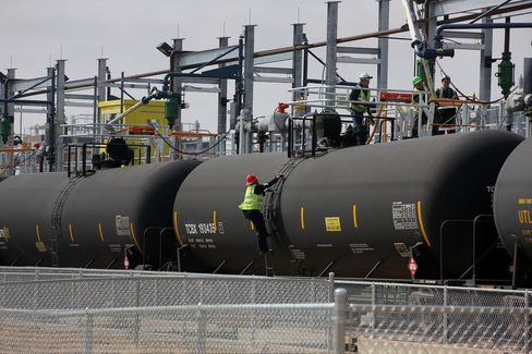 Employees Fill a Tank Car with Oil in Colorado