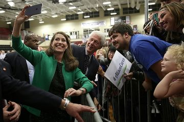 "Former President Bill Clinton and Kentucky Democratic Senate candidate Alison Lundergan Grimes take a ""selfie"" on Oct. 21, 2014, in Paducah, Ky."