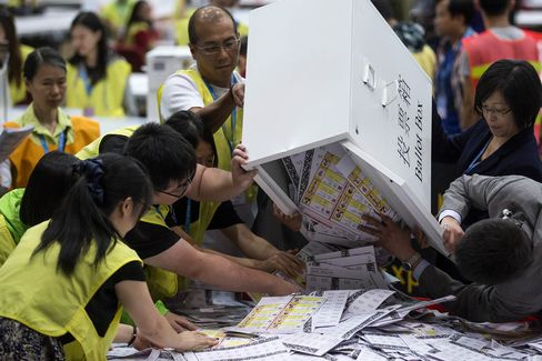 Officials empty ballot papers at the central counting station in Hong Kong on Sept. 5.