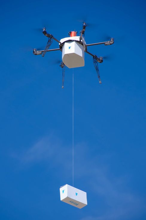 A Flirtey drone during a delivery mission.