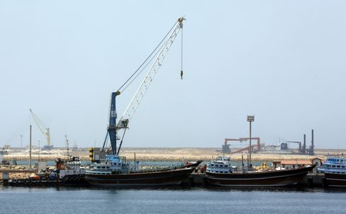 A partial view of the port of Chabahar on May 12, 2015.