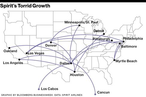 Spirit's Growth Focuses on Rival Airline Hubs