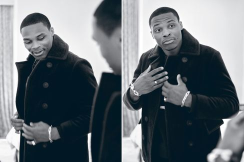 Pea coat by Burberry, $2,795; chain-link cuff and toggle bracelet, $795 each, cigar band ring, $250, all by Brass Jennifer Fisher x Russell Westbrook.