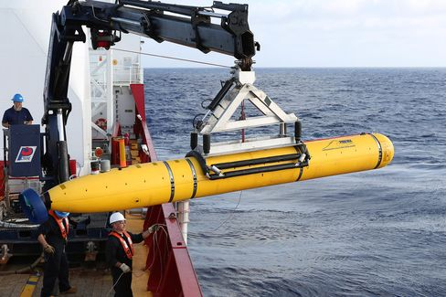 Phoenix Autonomous Underwater Vehicle (AUV) Bluefin-21 is craned over the side of Australian Defence Vessel Ocean Shield in the search for missing Malaysia Airlines flight MH 370 inApril 2014.