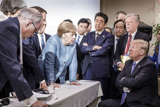 Trump Says He And Merkel Were Waiting on Communique in G-7 Photo