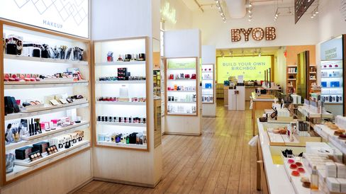 The inside of a Birchbox store leads you to a section in the back where you can build your own box.