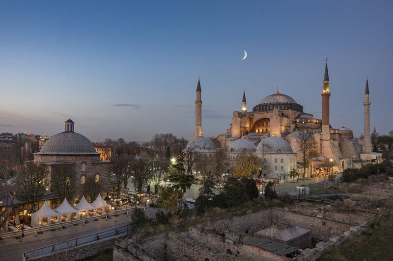 The Hagia Sophia and Haseki Hurrem Turkish Bath Complex at night ,Istanbul,Turkey