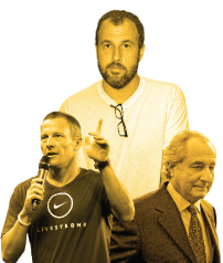 Armstrong, left, with megafraud Bernie Madoff, right, and memoir fabricator James Frey