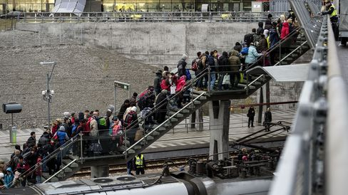 Refugees arriving from Denmark at the Hyllie train station outside Malmo, Sweden. Photographer: Johan Nilsson/AFP via Getty Images