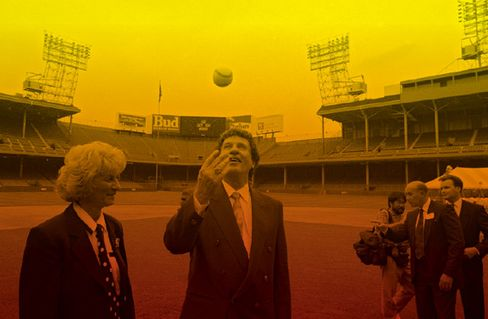 Marian and Mike Ilitch in 1992 after the Little Caesars founder bought the Detroit Tigers from Monaghan