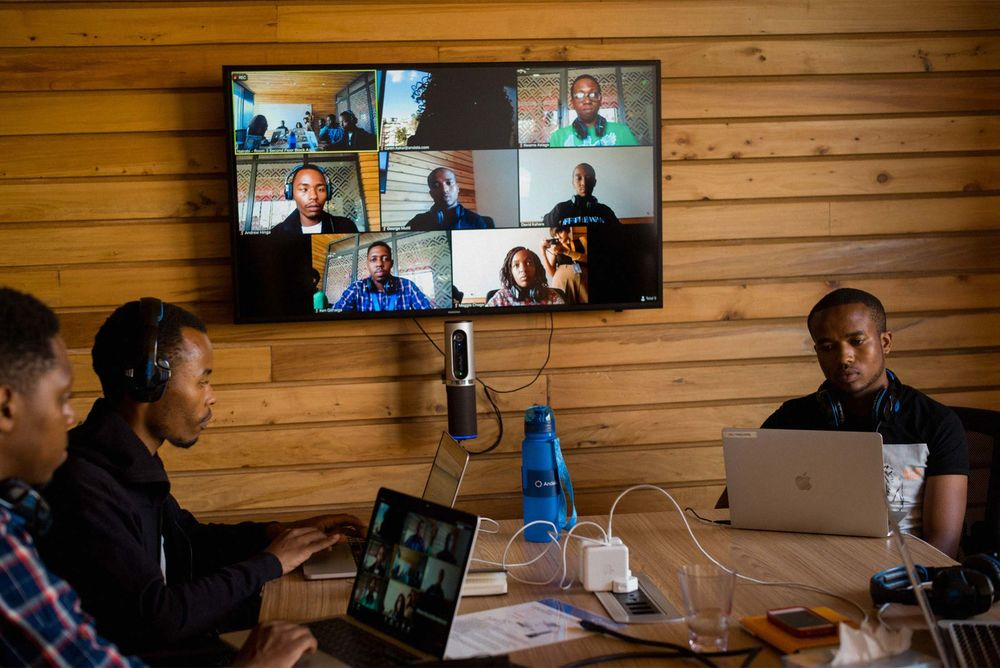 Software developers videoconferencing at the Nairobi, Kenya, office of Andela.
