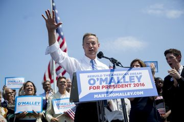 Martin O'Malley, former governor of Maryland, speaks while announcing he will seek the Democratic presidential nomination at Federal Hill Park in Baltimore, Maryland, U.S., on Saturday, May 30, 2015. O'Malley said he will seek the Democratic nomination for president in 2016, launching a long-shot challenge against front-runner Hillary Clinton. Photographer: Andrew Harrer/Bloomberg
