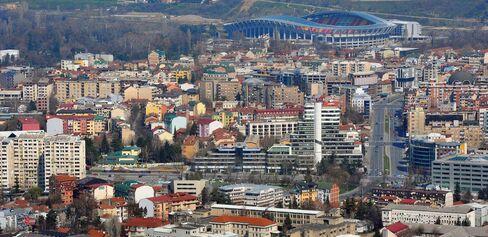 The Skopje skyline.