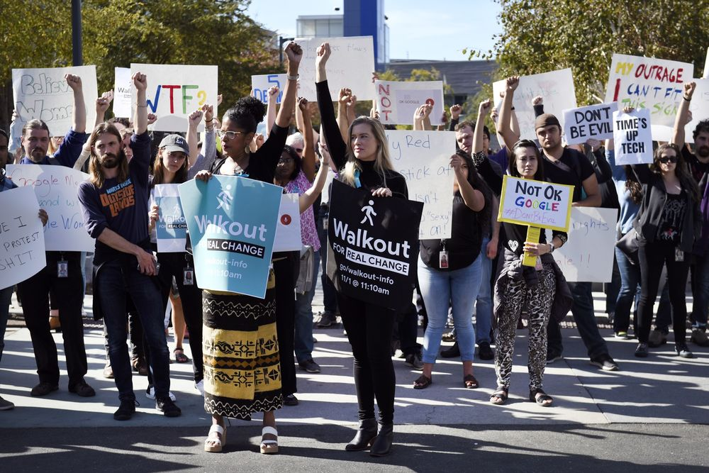 Google employees during a walkout in Mountain View, California, in Nov. 2018.