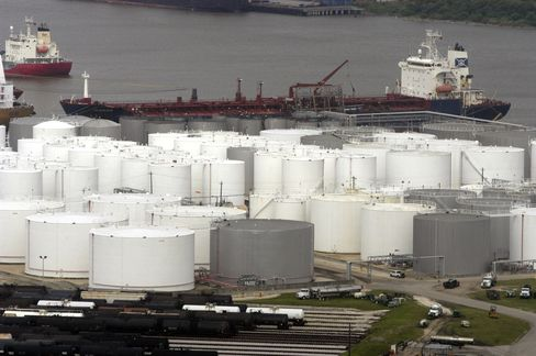 Storage Tanks Sit at an Oil Refinery in Houston