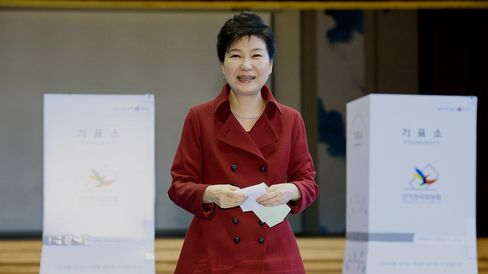 South Korean President Park Geun-Hye casts her vote on April 13, 2016.