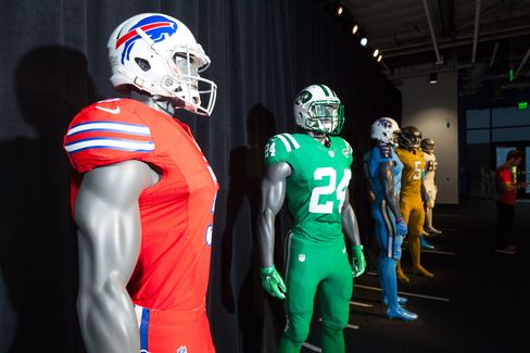 "Nike designed eight garish, ""Color Rush"" jerseys this season, to help the league draw attention to Thursday night games."