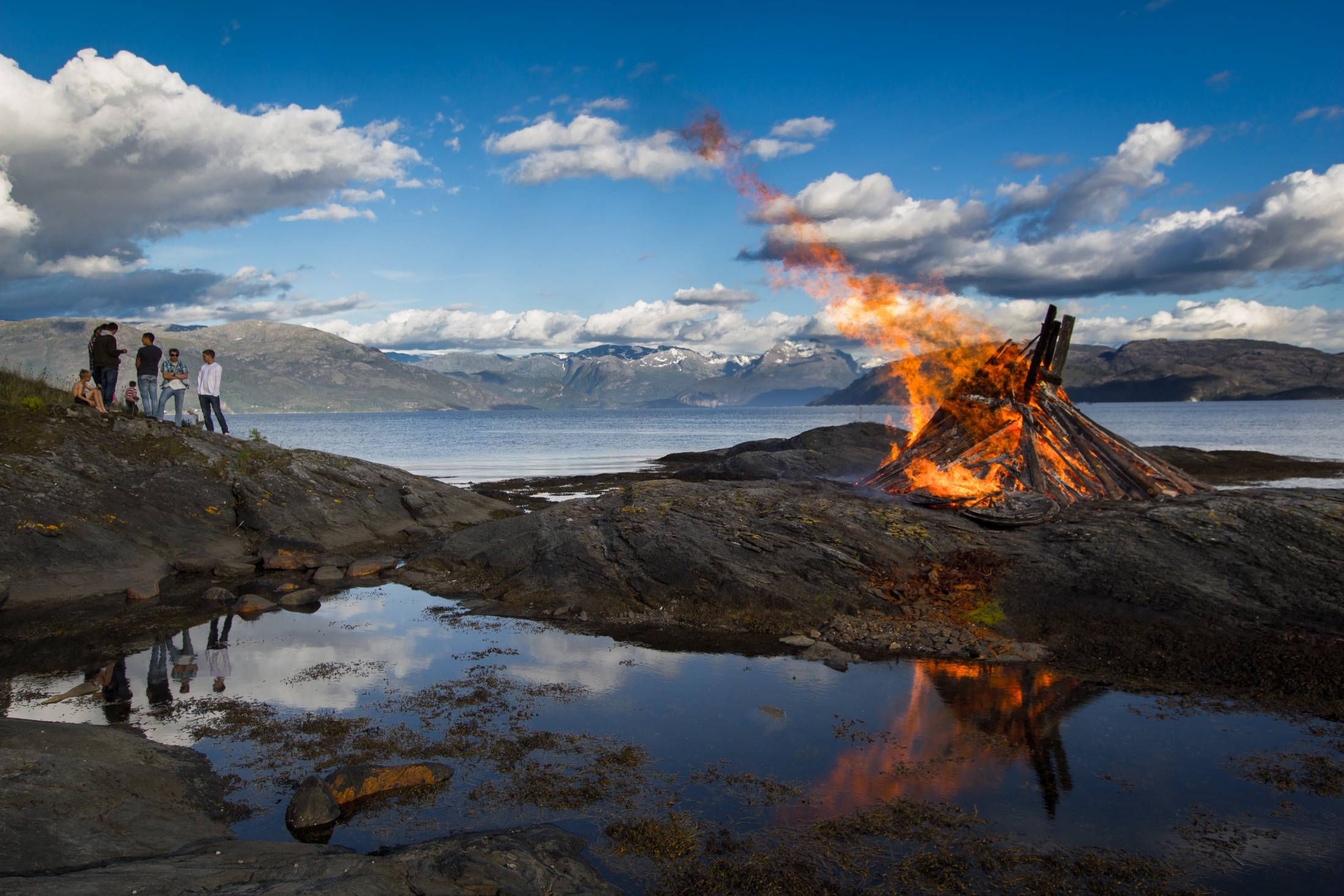 A Bonfire at Omastrand, Hardanger in Norway