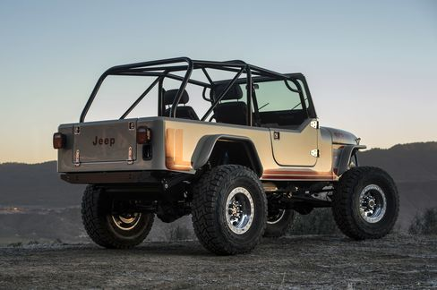 The rear of the Jeep can be configured with rows of bench seats or co-pilots' chairs, or left empty for storage.