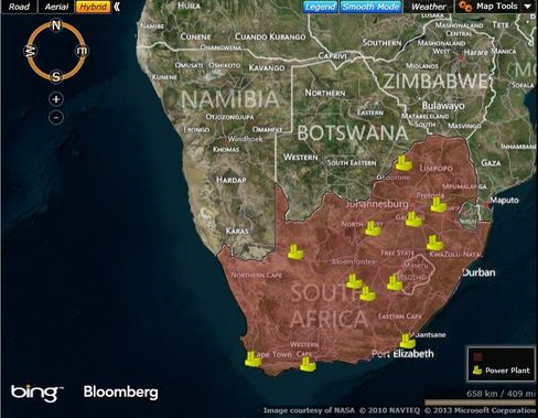 MAP: South African Power Plants