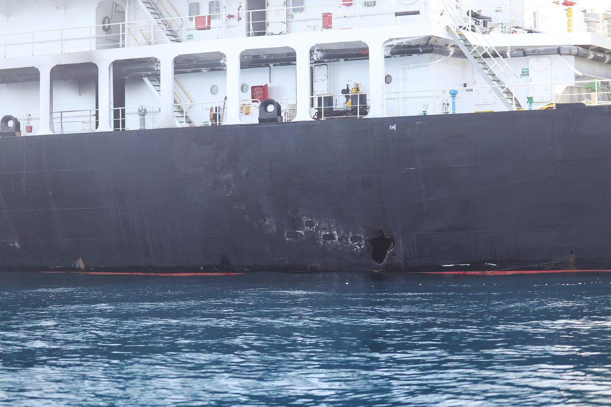Blast damage on the starboard side of motor vessel M/T Kokuka Courageous on June 13.