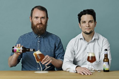 Tore Gynther (left) and Tobias Emil Jensen, head brewers and owners of To Øl in Copenhagen.