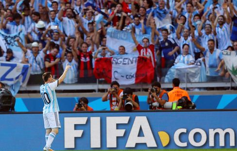 Messi Celebrates Scoring Against Iran