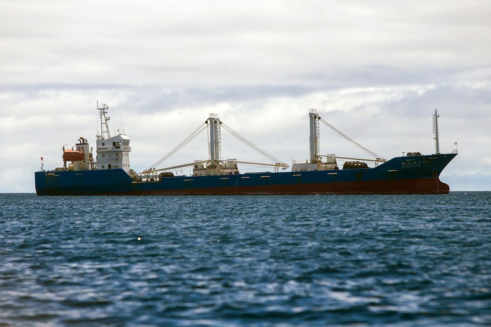 A Chinese-flagged ship confiscated by the Ecuadorean Navy sits in the waters of the Galapagos marine reserve, on Aug. 25, 2017.