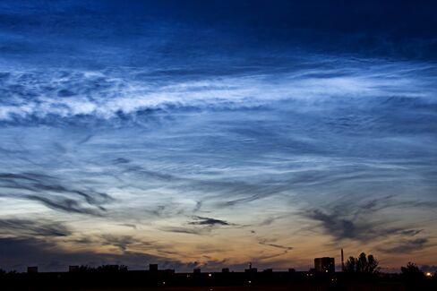 Noctilucent clouds.