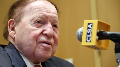 Sheldon Adelson speaks during a news conference at the 11th CLSA Japan Forum in Tokyo on Feb. 24, 2014.