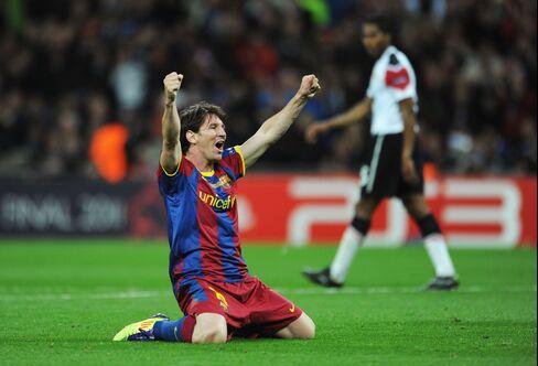 Barcelona's Lionel Messi Celebrates Goal