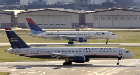 Delta and US Airways aircraft