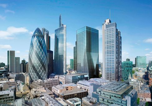A rendering showing Brookfield Office Properties Inc.'s planned development at 100 Bishopsgate in London.