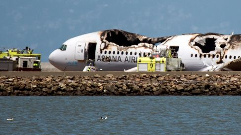 A burned Boeing Co. 777 after it crashed landed at San Francisco International Airport.