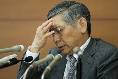 苦悩の表情を浮かべる黒田総裁