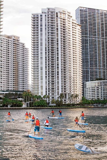 Paddleboarders on Biscayne Bay.