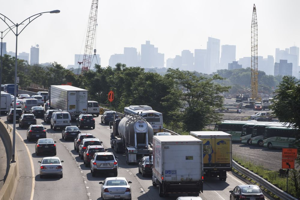 Traffic backs up along the Massachusetts Turnpike in the Allston neighborhood of Boston in 2017, where foes of an aging viaduct are hoping for federal help.