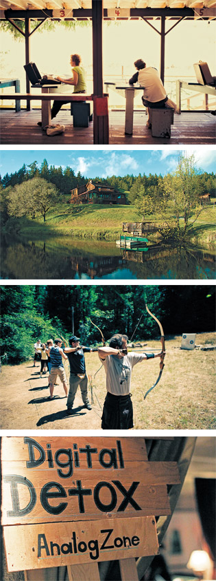 The picturesque Shambhalah Ranch allows old-fashioned typewriters and encourages getting out aggression through an archery class