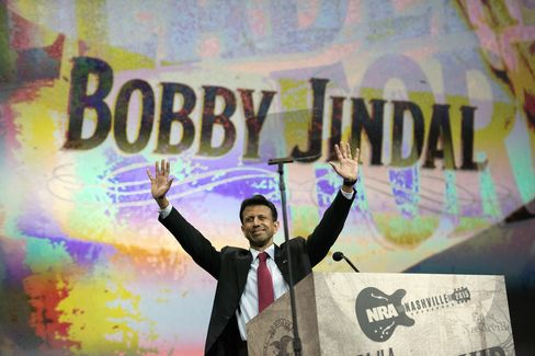 Bobby Jindal, governor of Louisiana, arrives at the podium.