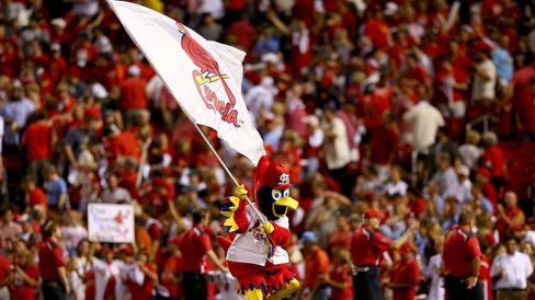 The St. Louis Cardinals mascot celebrates on the field after the Cardinals 9-1 victory against the Pittsburgh Pirates during Game One of the National League Division Series at Busch Stadium.