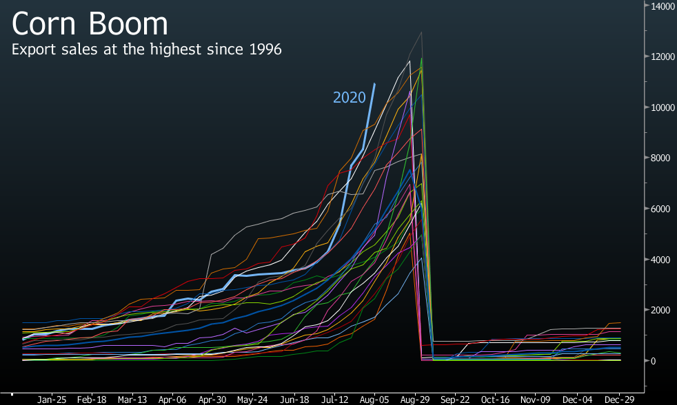relates to Biggest Corn Sales Since 1996 Can't Counter Record Yields