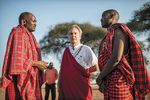 Ole Tialolo, Layton, and Erick ole Reson, a staffer with MIPI, at the outreach session in northern Tanzania