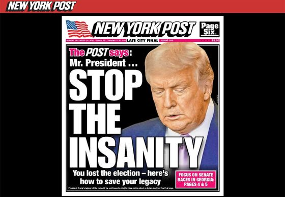 New York Post Tells Trump to 'Give It Up' Over Election Claim
