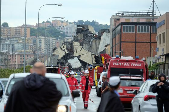 Italy Highway Bridge Collapses in Genoa, Killing at Least 22